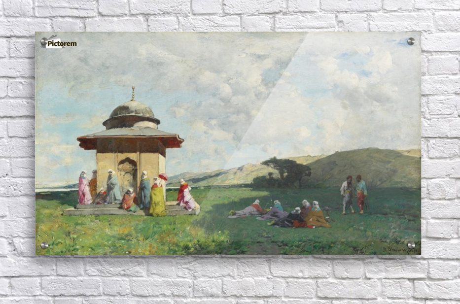 Landscape with people and small mosque  Acrylic Print