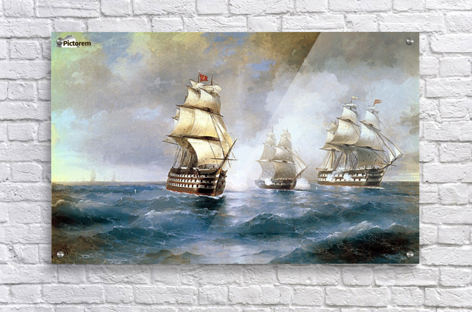 RUSSIAN SHIP MERCURY ATTACKED BY TURKISH SHIPS PAINTING ART REAL CANVAS PRINT