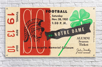 1953 usc notre dame football ticket stub print poster vintage metal sports tickets row 1  Acrylic Print