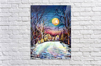 Winter Full Moon Night Landscape Watercolor  Acrylic Print
