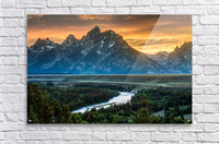 Sunset on Grand Teton and Snake River - Wyoming  Acrylic Print