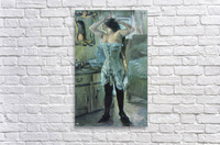 In a corset by Lovis Corinth  Acrylic Print