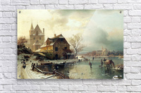 Dutch winter landscape with skaters  Acrylic Print