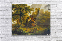 Tranquil landscape with women washing by a stream with cattle and sheep resting  Acrylic Print