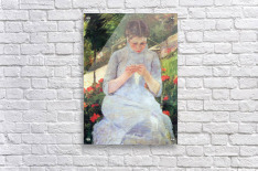 Young woman sewing in the garden by Cassatt  Acrylic Print