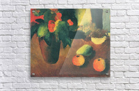 Still Life with begonia, apples and pear by August Macke  Acrylic Print