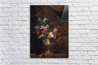 Flowers in a sculpted urns on a ledges  Acrylic Print