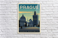 Prague vintage travel poster  Impression acrylique