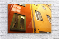 Low Angle View Of Red And Yellow Painted Buildings; Stockholm, Sweden  Acrylic Print