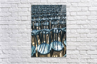 Plastic green chairs lined up in rows; Malaga Province, Andalusia, Spain  Acrylic Print
