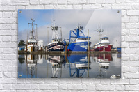 Fishing boats moored at the dock; Warrenton, Oregon, United States of America  Acrylic Print
