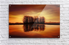 Silhouetted Trees Reflected On Water  Acrylic Print