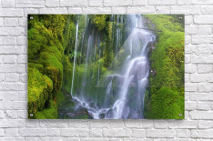 Waterfall Over Moss-Covered Rocks  Acrylic Print