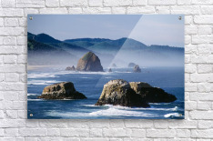 Haystack Rock, The Needles And Sea Stacks, Cannon Beach, Oregon, United States Of America  Acrylic Print