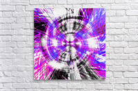 geometric pink blue purple and black circle plaid pattern with white background  Acrylic Print