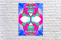 painting pink smiling skull head with blue and yellow background  Acrylic Print