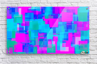 pink blue and green geometric square abstract background  Acrylic Print