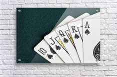 Close-Up Of Blackjack Playing Cards Showing Spades Royal Flush  Acrylic Print