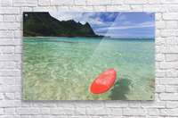 Hawaii, Kauai, Haena Beach Tunnels Beach, Red Surfboard Floating In Shallow Ocean.  Acrylic Print