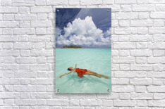 French Polynesia, Woman Floating In Ocean Water.  Acrylic Print