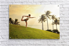 Hawaii, Oahu, Female Doing A Yoga Pose, Stretching On A Hill Overlooking Ocean, Palm Trees And Sunset.  Acrylic Print