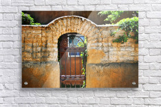 New Mexican Doors, New Mexico, Details Of Old Stone Doorway And Garden.  Acrylic Print