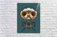 orange and brown skull and bone graffiti drawing with green background  Acrylic Print