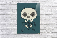 skull and bone graffiti drawing with green background  Acrylic Print