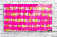 plaid pattern graffiti painting abstract in pink and yellow  Acrylic Print