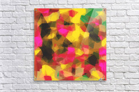 psychedelic geometric polygon shape pattern abstract in pink yellow green  Acrylic Print