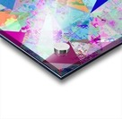 vintage psychedelic triangle polygon pattern abstract in blue pink green yellow Acrylic print