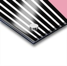 Black & White Stripes with Pacific Rose Patch Acrylic print