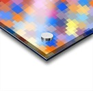 geometric square pixel pattern abstract in pink blue orange Acrylic print