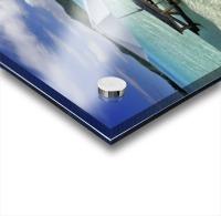 French Polynesia, Tahiti, Bora Bora, Picnic Table And Umbrella In Clear Lagoon Water. Acrylic print