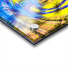 geometric psychedelic splash abstract pattern in blue and yellow Acrylic print