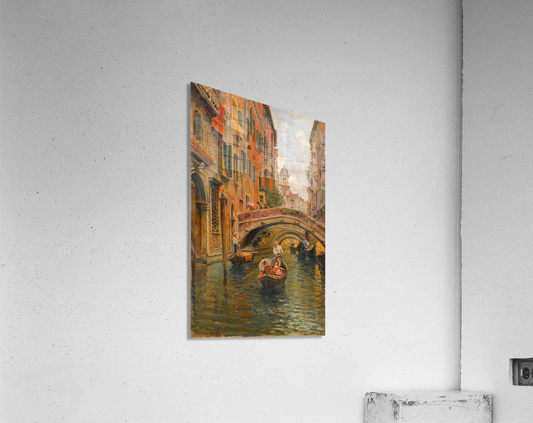 A walk with the gondola along a small canal in Venice  Impression acrylique