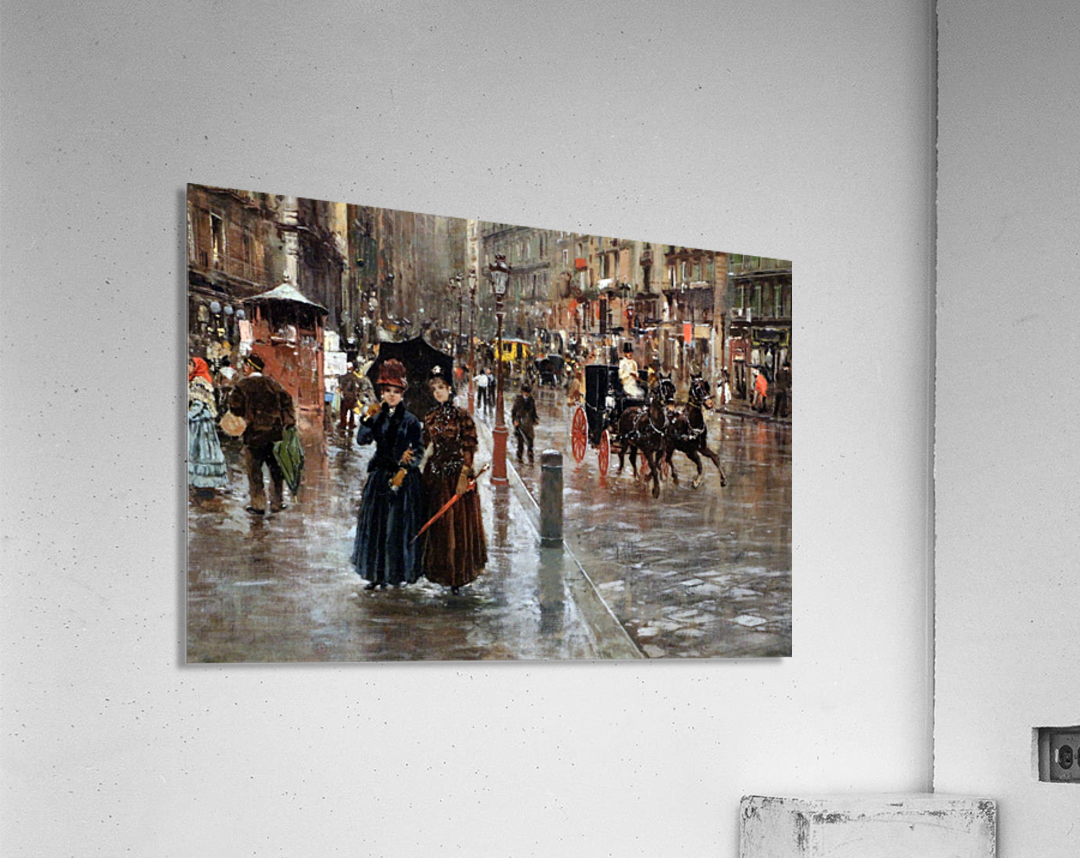 Naples via Toledo, with rain drops  Impression acrylique