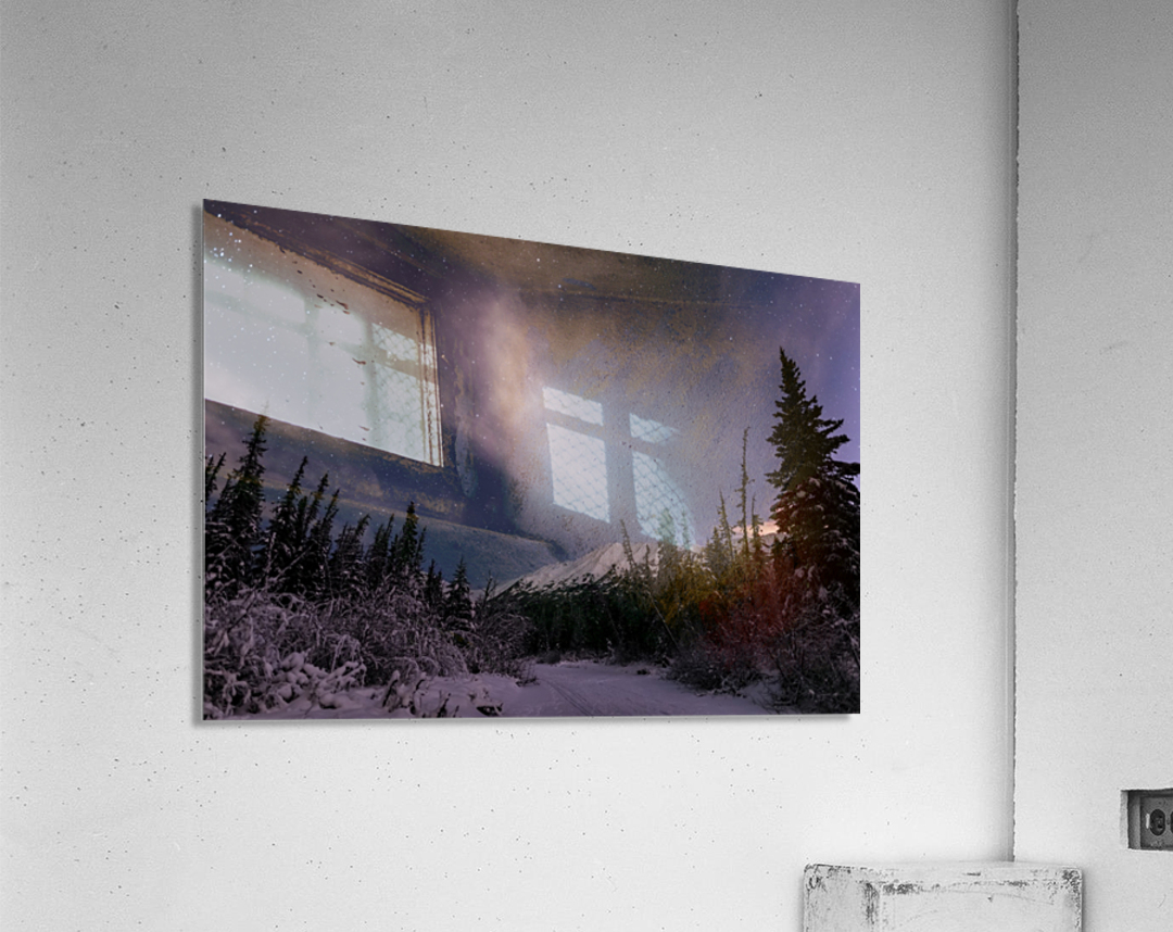 Night skies above Chugach Mountains and Eagle River Valley on winter solstice in South-central Alaska; Alaska, United States of America  Acrylic Print