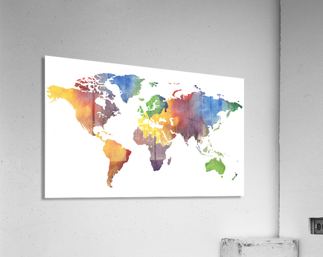 Colorful Map Of The World Watercolor  Acrylic Print