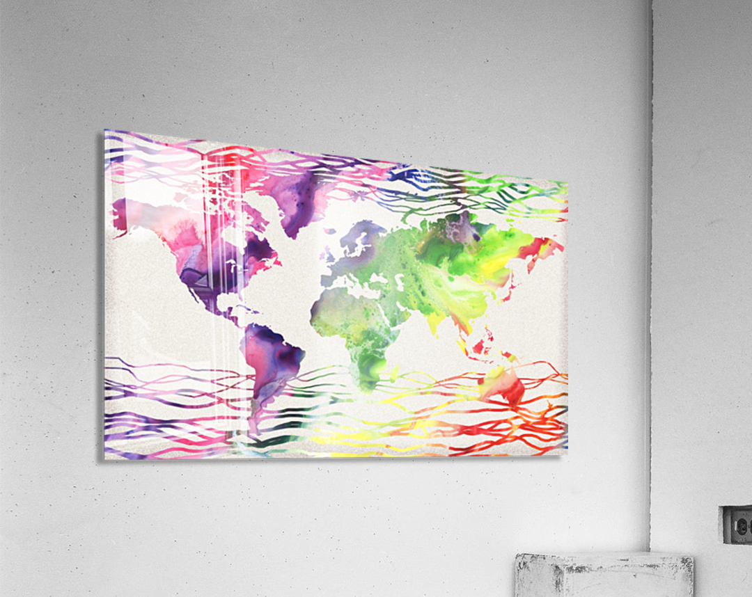 Colorful Wave Of Watercolour World Map  Acrylic Print