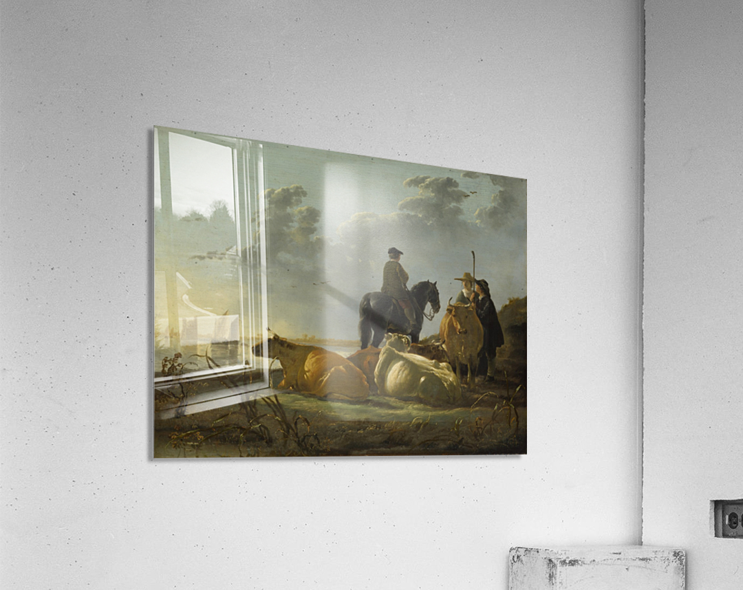 Peasants and Cattle by the River Merwede  Acrylic Print