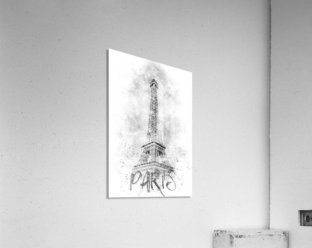 Monochrome Art EIFFEL TOWER | watercolor  Acrylic Print