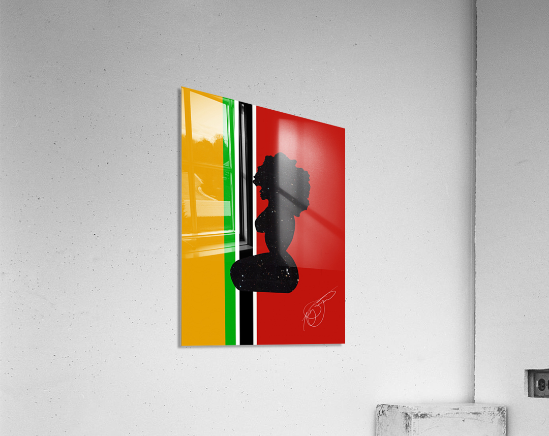 Afrocentric Woman Silhouette- African Flag  Acrylic Print