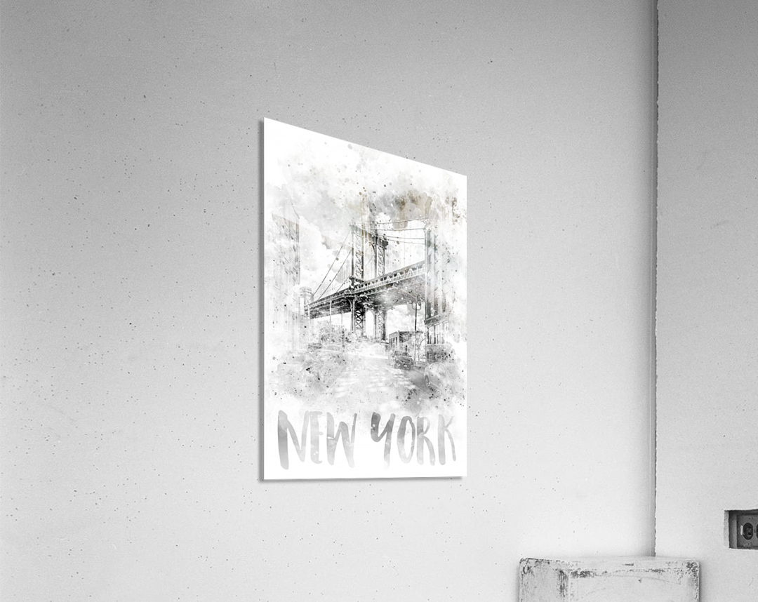 Monochrome Art NYC Manhattan Bridge | watercolor  Acrylic Print