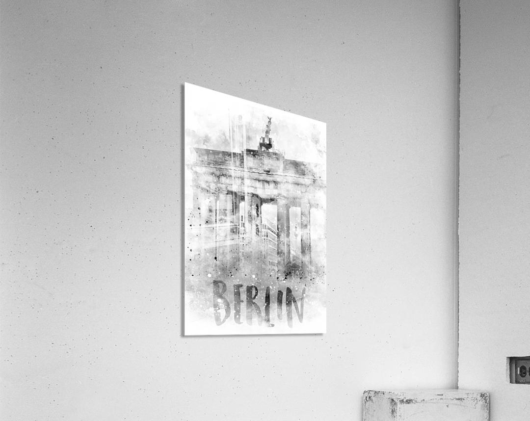 Monochrome Art BERLIN Brandenburg Gate | Watercolor  Acrylic Print
