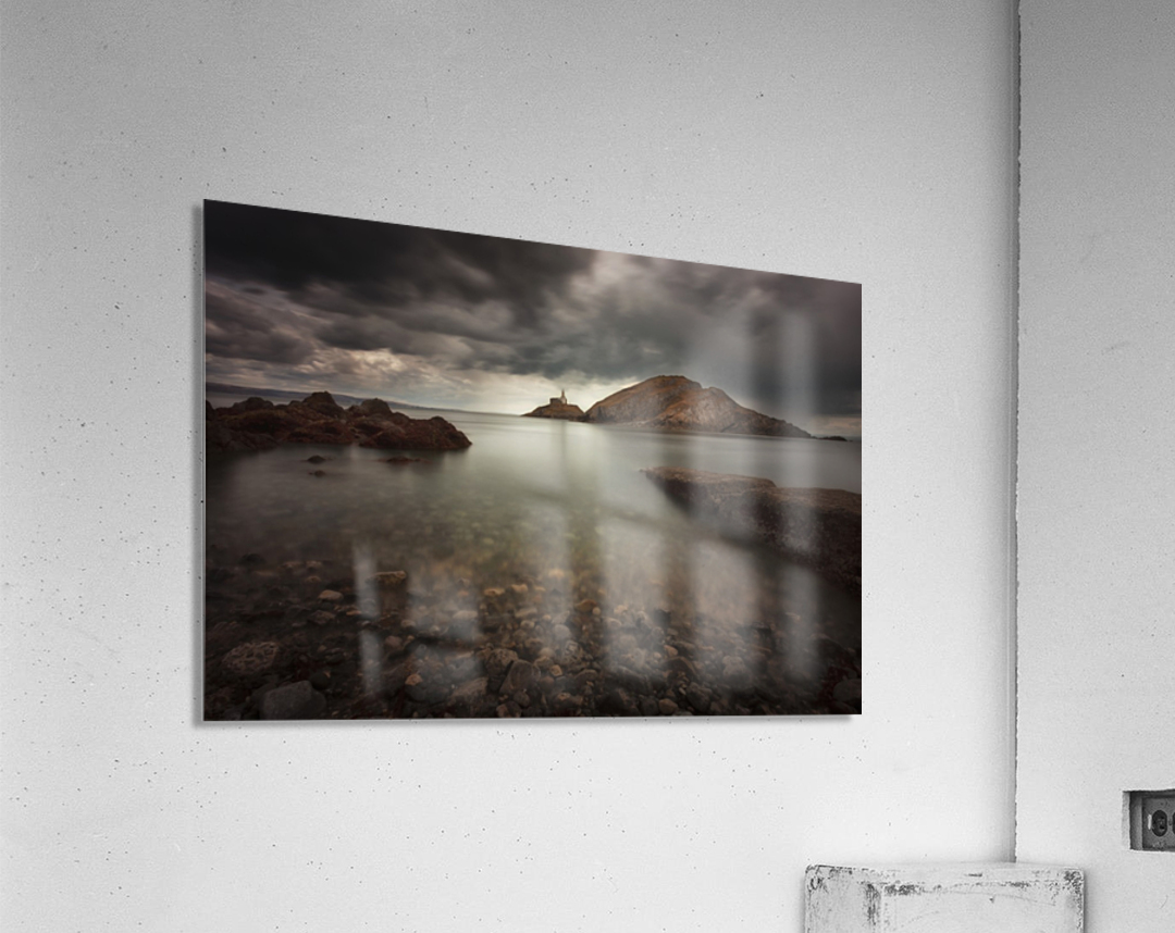 Rough weather over Mumbles lighthouse  Acrylic Print