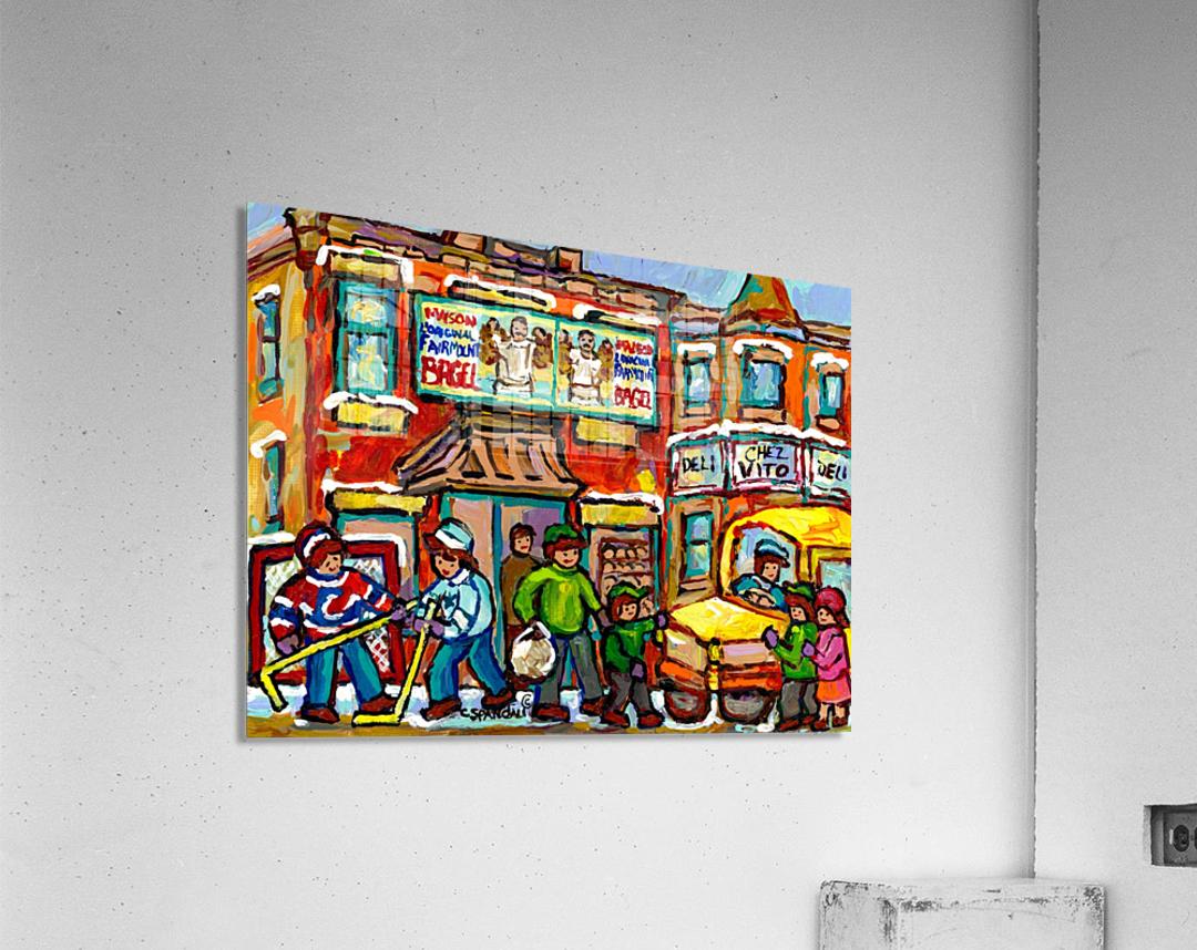 FAIRMOUNT BAGEL MONTREAL PAINTING CHEZ VITO WINTER CITY SCENE  Acrylic Print