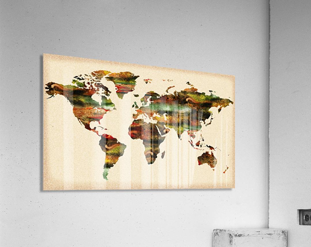 Watercolor World Map Vintage Brown  Acrylic Print