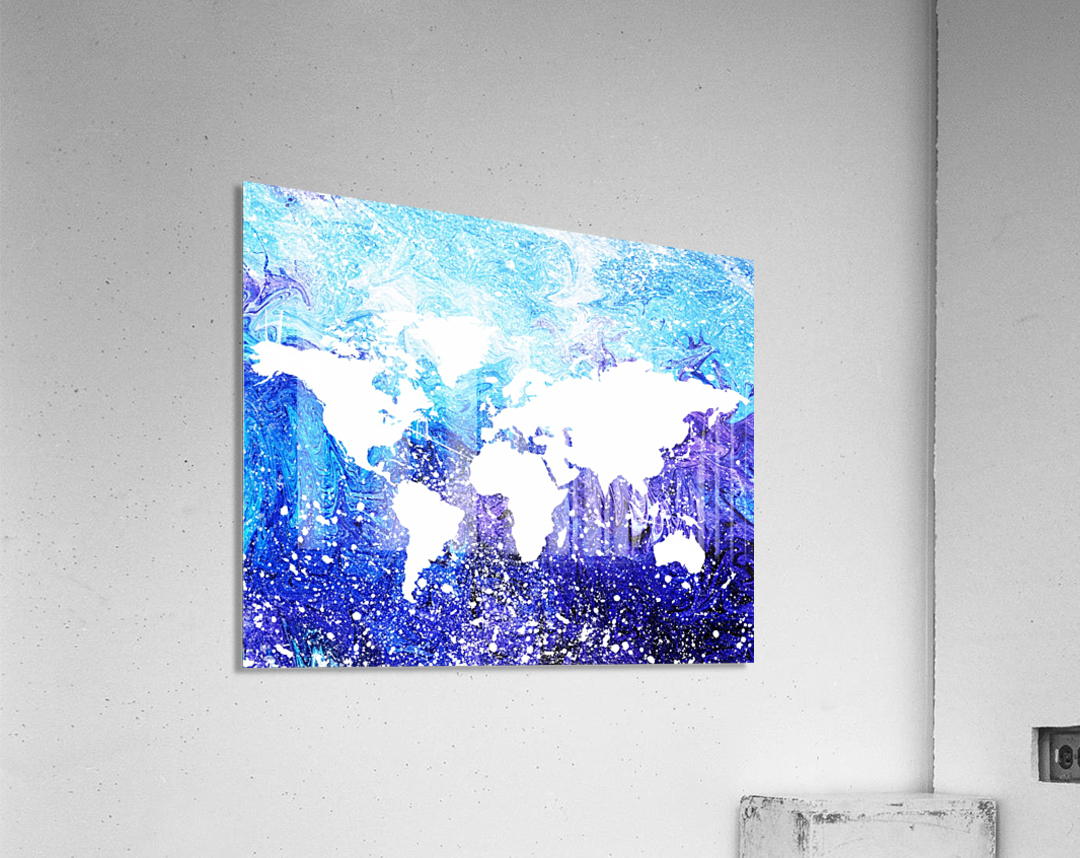 Watercolor Silhouette World Map Global Cooling   Acrylic Print