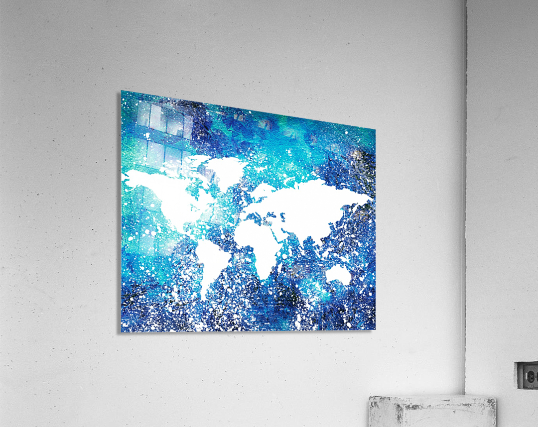 White And Teal Watercolor Silhouette World Map   Acrylic Print